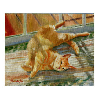 Blue Lounging Red Tabby Cat Portrait Poster