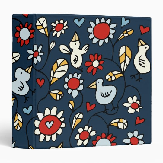 Blue Love Bird Flowers Binder