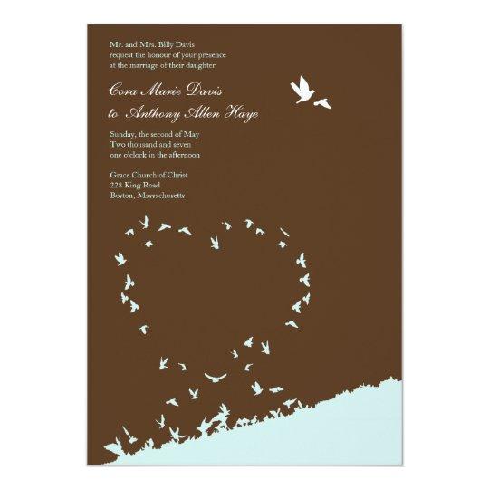 Blue love bird wedding invitation
