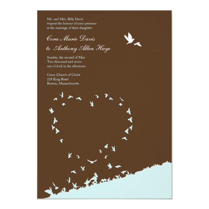 Blue love bird wedding invitation Zazzle