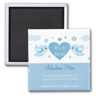 Blue Love Birds Baby Birth Announcement 2 Inch Square Magnet