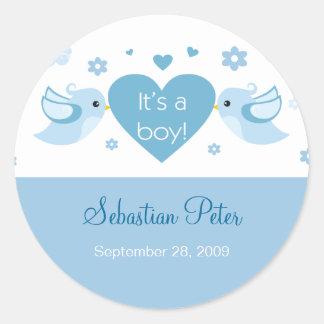 Blue Love Birds Baby Birth Announcement Sticker