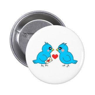 Blue Love Birds Pinback Button