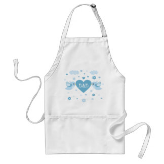 Blue Love Birds Heart Baby Adult Apron