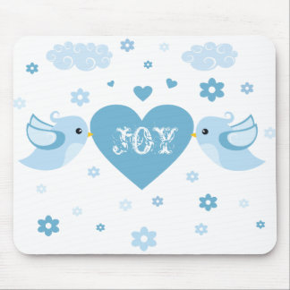 Blue Love Birds Heart Baby Mouse Pad