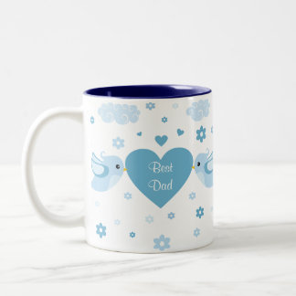 Blue Love Birds Heart Baby Mugs