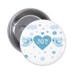 Blue Love Birds Heart Baby Pins