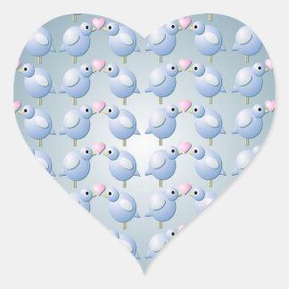 Blue Love Birds Heart Sticker