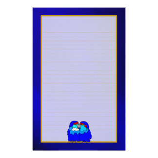 Blue Love Birds on Blue Fine Lined Stationery