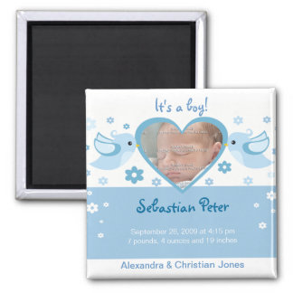 Blue Love Birds Photo Baby Birth Announcement 2 Inch Square Magnet