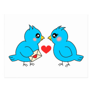 Blue Love Birds Postcard