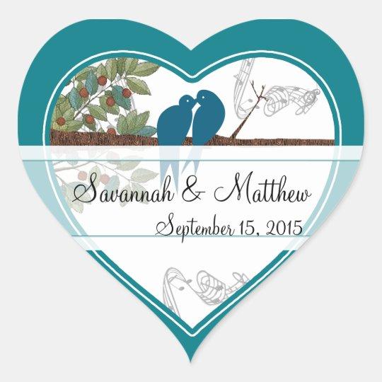 Blue Love Birds Sitting in a Tree Wedding Sticker