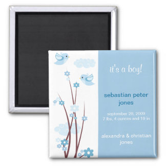 Blue Love Birds Spring Flowers Baby Announcement 2 Inch Square Magnet