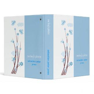 Blue Love Birds Spring Flowers Baby Boy Album binder