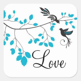 Blue Love Birds Square Sticker