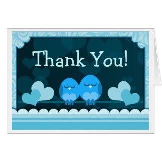 Blue Love Birds Wedding Thank You Card