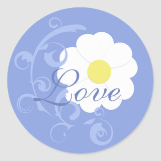 Blue Love Daisy Sticker