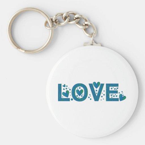 Blue Love Design Keychains