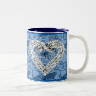 Blue Love Diamond Heart Mug