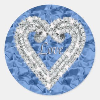 Blue Love Diamond Heart Stickers