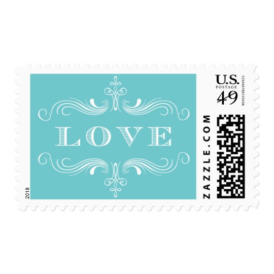 Blue Love Flourish Postage
