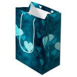 Blue Love Heart Shape Medium Gift Bag