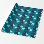 Blue Love Heart Shape Wrapping Paper