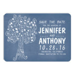 blue love hearts tree rustic save the date cards personalized invitation