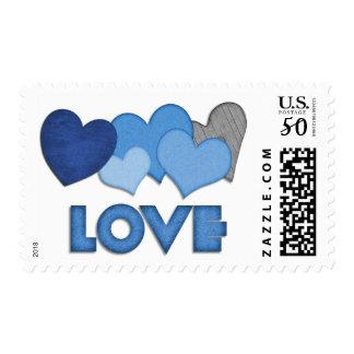 Blue Love Hearts Valentines Day Stamp
