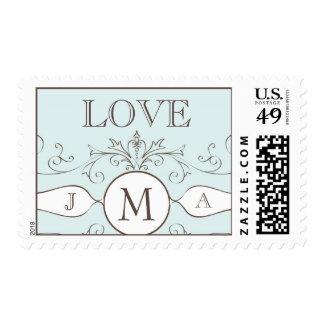 Blue Love Monogram Wedding Postage Stamps