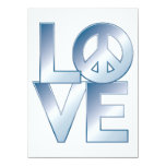 "Blue LOVE=Peace 5.5"" X 7.5"" Invitation Card"