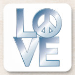Blue LOVE=Peace Beverage Coaster