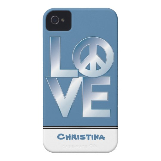 Blue LOVE=Peace Case-Mate iPhone 4 Case
