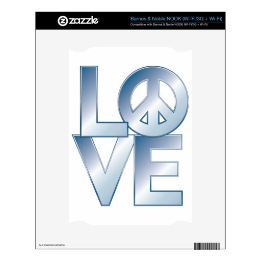 Blue LOVE=Peace Decal For NOOK