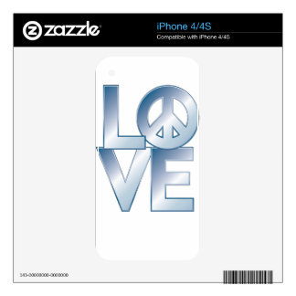 Blue LOVE=Peace Skins For The iPhone 4