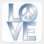 Blue LOVE=Peace Square Sticker