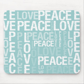 Blue Love Peace Typography Mouse Pad