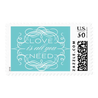 Blue Love Postage Calligraphy