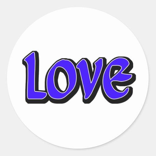Blue Love Round Stickers