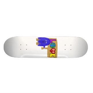Blue love custom skateboard