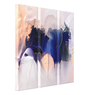 Blue  Love Song Abstract painting 3 Panels Canvas Print