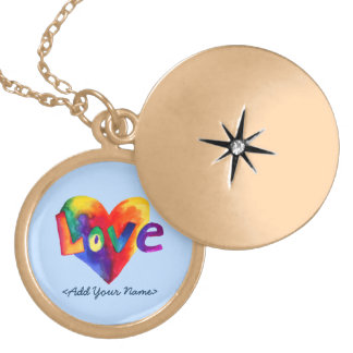 Blue Love Word Rainbow Heart Gold Locket