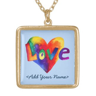 Blue Love Word Rainbow Heart Gold Necklaces