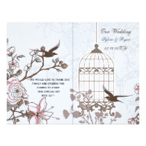blue lovebirds  bircage bi fold Wedding program