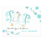 Blue Lovebirds Save the Dates Postcard