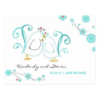 Blue Lovebirds Save the Dates Postcard