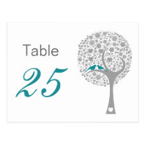 Blue Lovebirds Whimsical Wedding table numbers Postcard