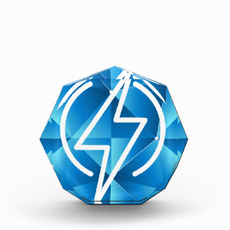 Blue Low Poly Lightning Bolt Power Icon Acrylic Award