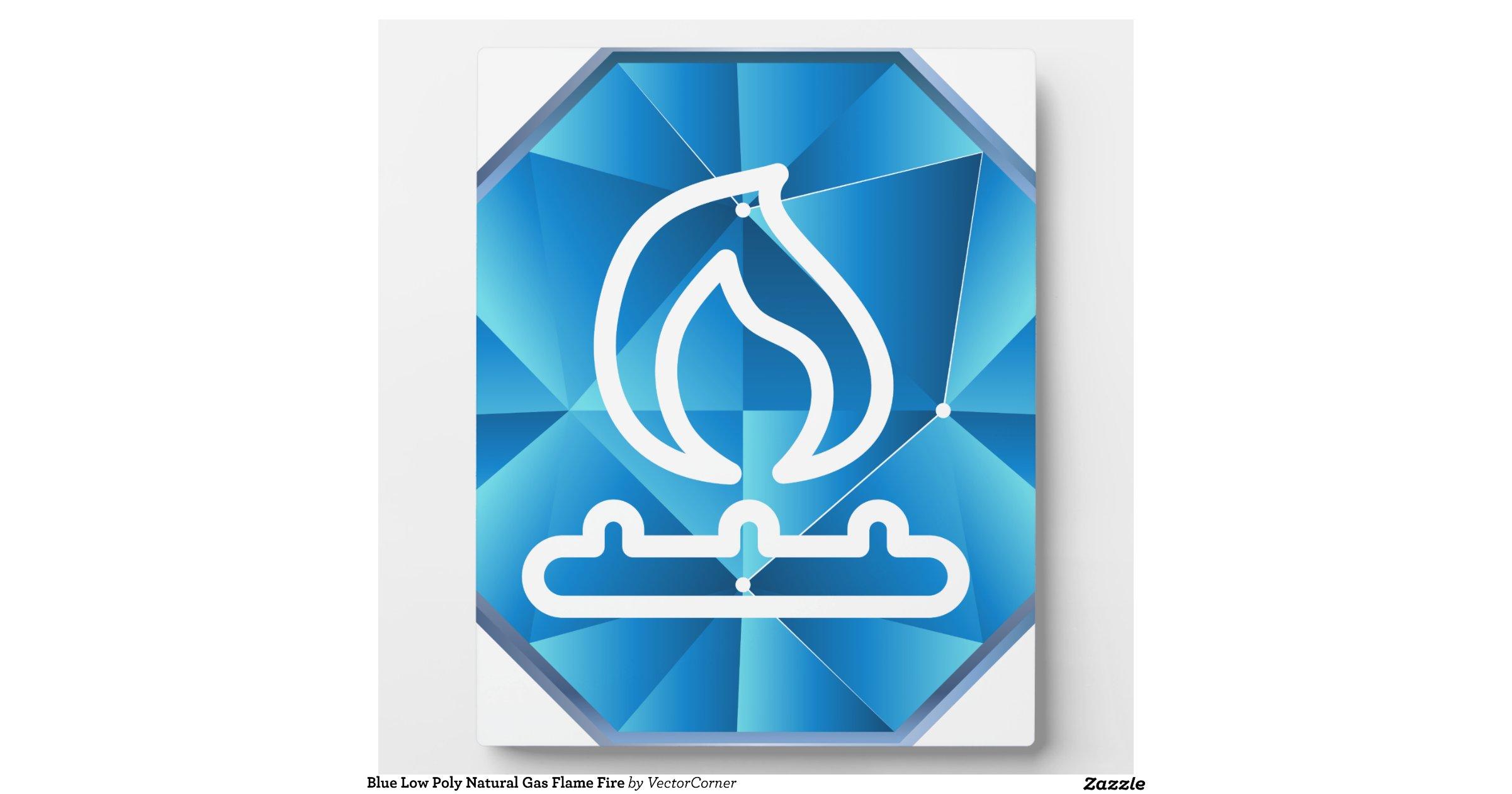 Blue Low Poly Natural Gas Flame Fire Plaques Zazzle