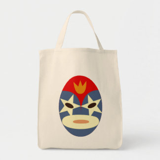 Blue Lucha Libre Mask Grocery Tote Bag